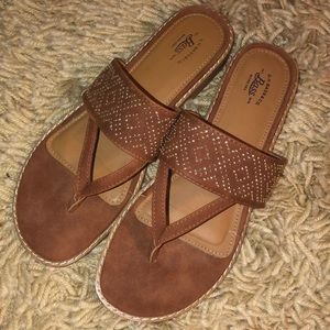 NEW BASS Tanya Cognac Brown Shoes Sandals 7.5 M